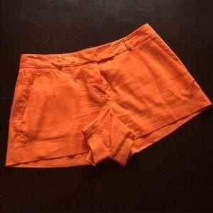 Theory Orange Bennie Linen Shorts